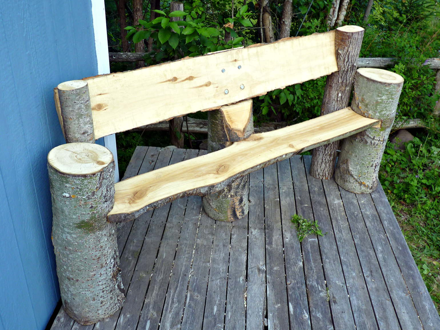 Benches carved with chainsaws!